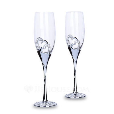 Personalized Heart with Heart/Heart design Toasting Flutes (Set Of 2)