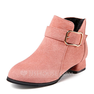 Girl's Round Toe Closed Toe Ankle Boots Suede Low Heel Flats Boots Flower Girl Shoes With Buckle