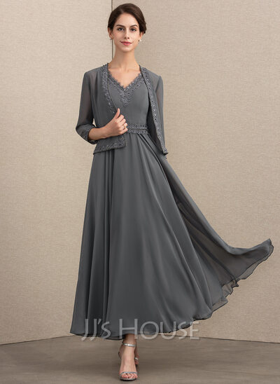 A-Line/Princess V-neck Ankle-Length Chiffon Mother of the Bride Dress With Beading Sequins