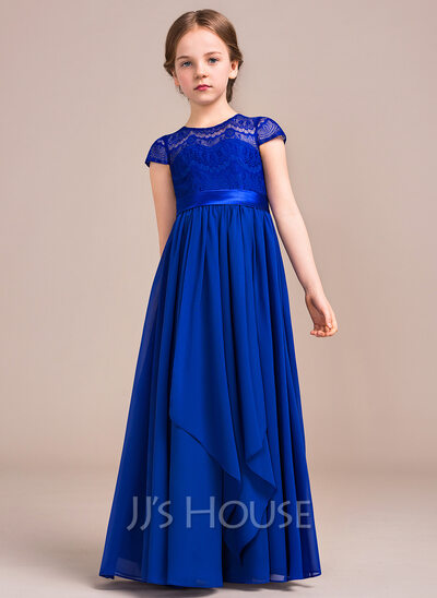 A-Line/Princess Scoop Neck Floor-Length Chiffon Lace Junior Bridesmaid Dress With Bow(s) Cascading Ruffles