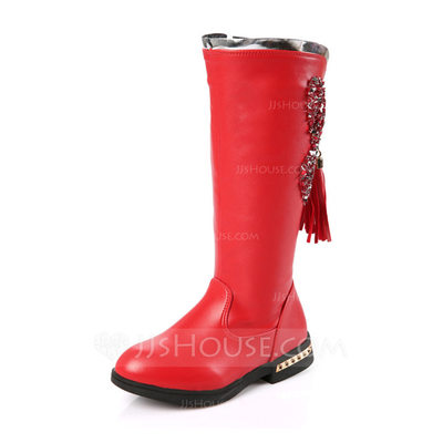 Girl's Round Toe Closed Toe Mid-Calf Boots Leatherette Flat Heel Flats Boots Flower Girl Shoes With Tassel Zipper