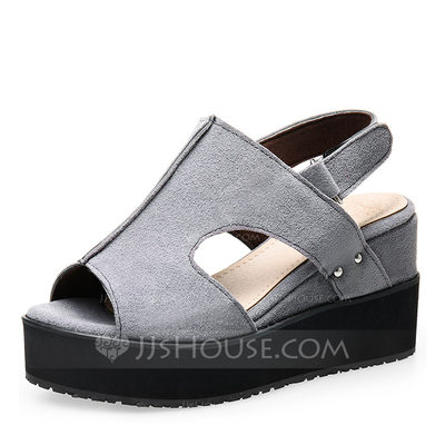 Women's Suede Wedge Heel Sandals Pumps Wedges Peep Toe With Others shoes
