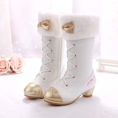 Girl's Closed Toe Microfiber Leather Low Heel Boots Flower Girl Shoes With Bowknot Lace-up Crystal