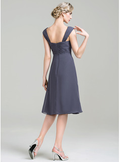 A-Line/Princess Square Neckline Knee-Length Chiffon Mother of the Bride Dress With Crystal Brooch Cascading Ruffles