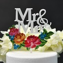 Classic Couple/Mr. & Mrs./Flower Acrylic Cake Topper (Sold in a single piece)