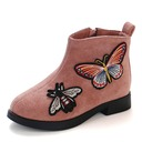 Girl's Round Toe Closed Toe Ankle Boots Suede Flat Heel Flats Boots Flower Girl Shoes With Zipper