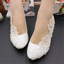 Women's Leatherette Low Heel Closed Toe With Stitching Lace Pearl