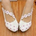 Women's Leatherette Flat Heel Closed Toe Flats With Bowknot Rhinestone Applique