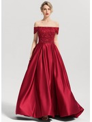 Ball-Gown Off-the-Shoulder Sweep Train Satin Prom Dresses With Beading Sequins