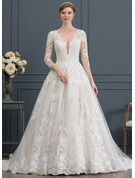 Ball-Gown V-neck Chapel Train Tulle Wedding Dress