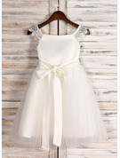 A-Line/Princess Square Neckline Tea-Length Tulle Junior Bridesmaid Dress With Sash