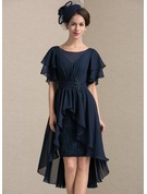 Sheath/Column Scoop Neck Asymmetrical Chiffon Lace Cocktail Dress With Beading Sequins Cascading Ruffles