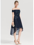 A-Line/Princess Off-the-Shoulder Asymmetrical Tulle Cocktail Dress With Appliques Lace Sequins