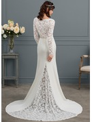 Trumpet/Mermaid V-neck Court Train Charmeuse Wedding Dress With Beading
