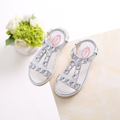 Girl's Peep Toe Leatherette Flat Heel Sandals Flats Flower Girl Shoes With Rhinestone