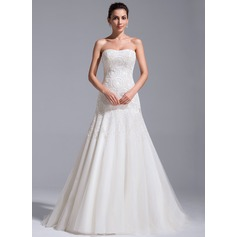 A-Line/Princess Sweetheart Court Train Tulle Lace Wedding Dress