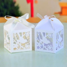 Love Birds Cut-out Cuboid Favor Boxes With Ribbons