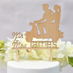 Personalized Classic Couple/Sweet Love/Mr. & Mrs. Wood Cake Topper (Sold in a single piece)