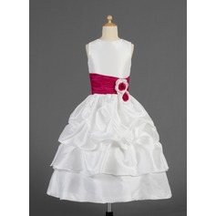 A-Line/Princess Tea-length Flower Girl Dress - Taffeta Sleeveless Scoop Neck With Ruffles/Sash/Flower(s)/Pick Up Skirt