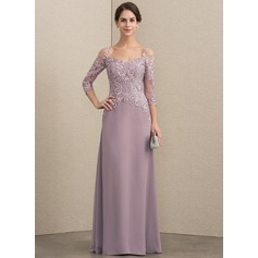 A-Line/Princess Sweetheart Floor-Length Chiffon Lace Mother of the Bride Dress With Sequins
