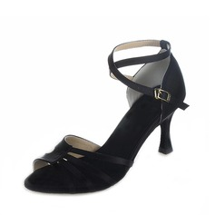 Women's Satin Heels Sandals Latin With Ankle Strap Dance Shoes