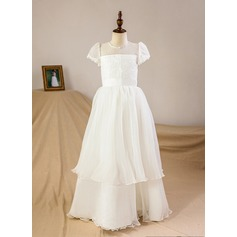 A-Line/Princess Floor-length Flower Girl Dress - Satin/Tulle Short Sleeves Scoop Neck