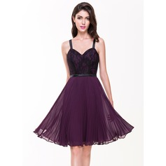 A-Line/Princess Sweetheart Knee-Length Chiffon Lace Cocktail Dress With Pleated