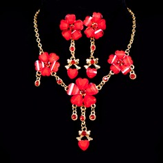 Flower Shaped Alloy With Rhinestone Ladies' Jewelry Sets