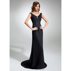 Sheath/Column V-neck Sweep Train Chiffon Evening Dress With Ruffle Beading