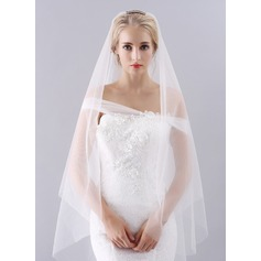 One-tier Cut Edge Waltz Bridal Veils With Rhinestones