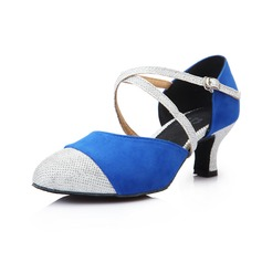 Women's Suede Heels Pumps Modern With Ankle Strap Dance Shoes