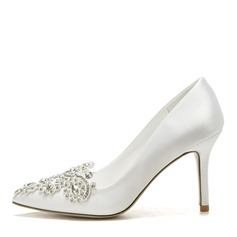 Women's Silk Stiletto Heel Closed Toe Pumps With Applique