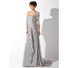 A-Line/Princess Sweetheart Court Train Chiffon Mother of the Bride Dress With Beading Cascading Ruffles