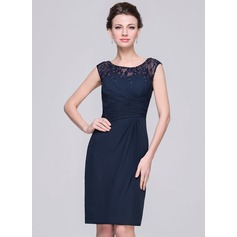 Sheath/Column Scoop Neck Knee-Length Chiffon Mother of the Bride Dress With Ruffle Lace Beading Sequins