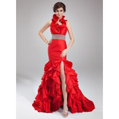 Trumpet/Mermaid Halter Court Train Taffeta Prom Dress With Beading Split Front Cascading Ruffles