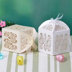 Heart Cut–outs Cuboid Favor Boxes With Ribbons