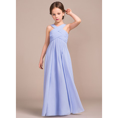 A-Line/Princess V-neck Floor-Length Chiffon Junior Bridesmaid Dress With Ruffle (009081159)