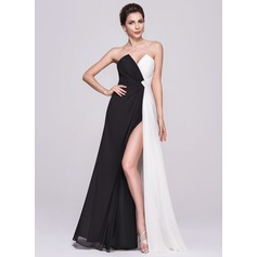 A-Line/Princess Scalloped Neck Floor-Length Chiffon Evening Dress With Ruffle Split Front