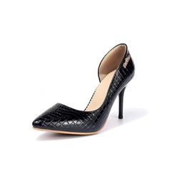 Women's Patent Leather Stiletto Heel Pumps Closed Toe With Animal Print shoes