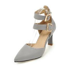Женщины кожа Высокий тонкий каблук Сандалии На каблуках Закрытый мыс Mary Jane с пряжка обувь