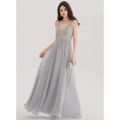 A-Line/Princess V-neck Floor-Length Chiffon Prom Dresses With Beading (018138357)