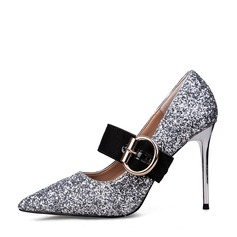 Women's Sparkling Glitter Stiletto Heel Closed Toe Pumps With Buckle Others
