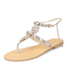 Women's Leatherette Flat Heel Sandals Flats Peep Toe Slingbacks With Rhinestone Chain shoes