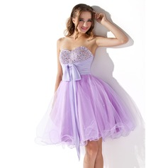 Empire Sweetheart Knee-Length Tulle Homecoming Dress With Ruffle Beading Sequins Bow(s)