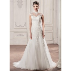 A-Line/Princess High Neck Court Train Tulle Lace Wedding Dress With Ruffle
