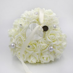 Elegant Rose Ring Pillow in PE With Rhinestones/Faux Pearl