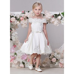 A-Line/Princess Tea-length Flower Girl Dress - Satin Sleeveless Off-the-Shoulder With Flower(s)
