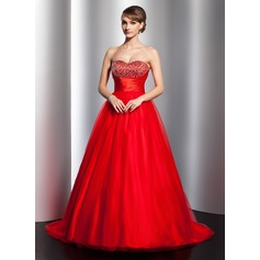 Ball-Gown Sweetheart Sweep Train Tulle Quinceanera Dress With Ruffle Beading