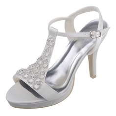 Women's Stiletto Heel Peep Toe Pumps Sandals With Rhinestone