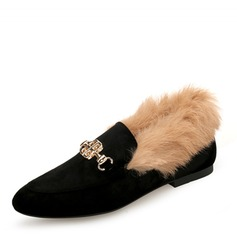 Women's Suede Flat Heel Flats Closed Toe With Buckle Faux-Fur shoes